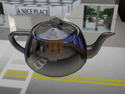The cube map on a teapot.