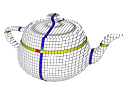 Teapot with a grid applied, rotated