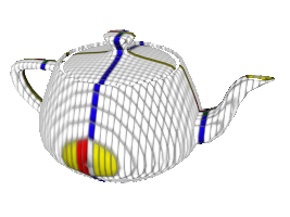 Teapot with a grid applied